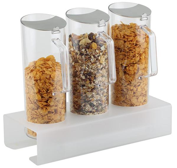 Cerealien-Bar 3 x 1,5 ltr., 7-teilig, 38 x 17 x 17 cm, Ständer: 8 cm hoch
