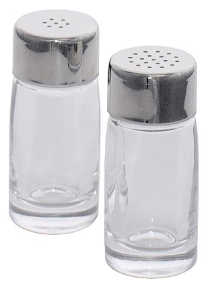 Salzstreuer a. glattem Pressglas, Edelstahlkappe m. Kunststoffdichtung, D: 3,5 cm, H: 8 cm