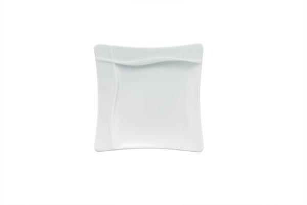 Bauscher, Pleasure - Teller flach Fahne quadratisch, weiss, uni, 26,6 x 26,6 cm