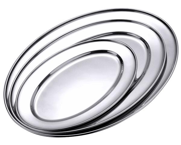 Bratenplatte, oval, flach, hochglänzend, Edelstahl, 30/ 22/ 1,8 cm