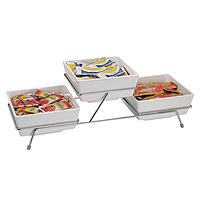 Buffetgestell für 3 Schalen Float 19 x 19 cm, Metall verschromt, 55,5 x 19 x 15,5 cm
