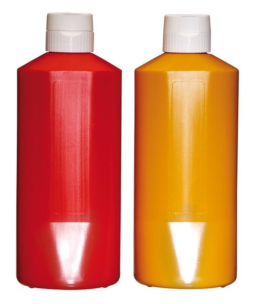 Quetschflasche m. Verschlusskappe, Fb. Ocker, Inhalt: 1,1 ltr., D: 9,5 cm H: 25,5 cm