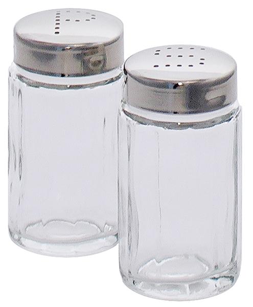 Salzstreuer a. geriffeltem Pressglas, Edelstahlkappe, D: 3,8 cm, H: 7 cm