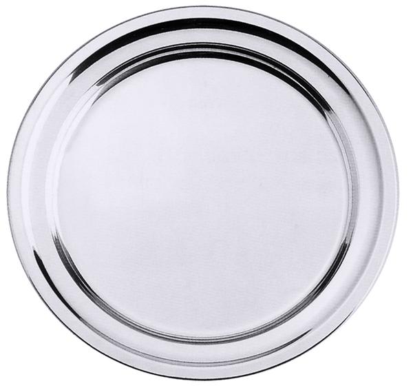 Bratenplatte, rund, m. gebördeltem Rand, seidenmatt, Edelstahl, 42/ 2,8 cm